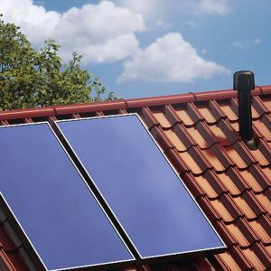 System solarny oparty na płaskich kolektorach. Fot. Ruukki