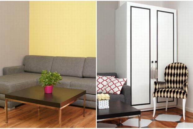 Właścicielka chciała odmienić główny pokój w swoim mieszkaniu szybko i niedrogo. Znudziły się jej modne kilkanaście lat temu ciepłe barwy i dość banalne meble robione na zamówienie. Z pomocą przyszły jej autorki bloga Pani to potrafi – B
