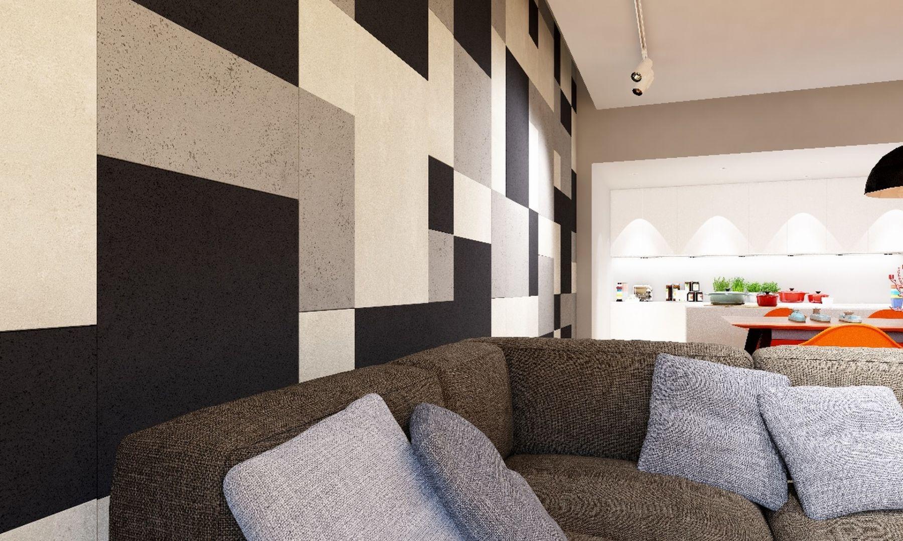 Beton architektoniczny doskonale wygląda również na ścianie nowoczesnego, przestronnego i jasnego salonu urządzonego w industrialnym stylu. Fot. Jadar