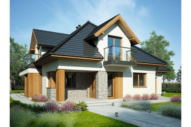 Aria to jednorodzinny dom z poddaszem użytkowym i dachem wielospadowym.