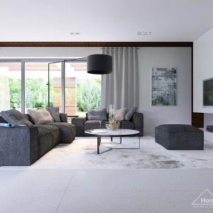 W pokoju dziennym domu HomeKONCEPT 31 dominują jasne barwy - idealnie pasujące do nowoczesnych wnętrz. Fot. HomeKONCEPT