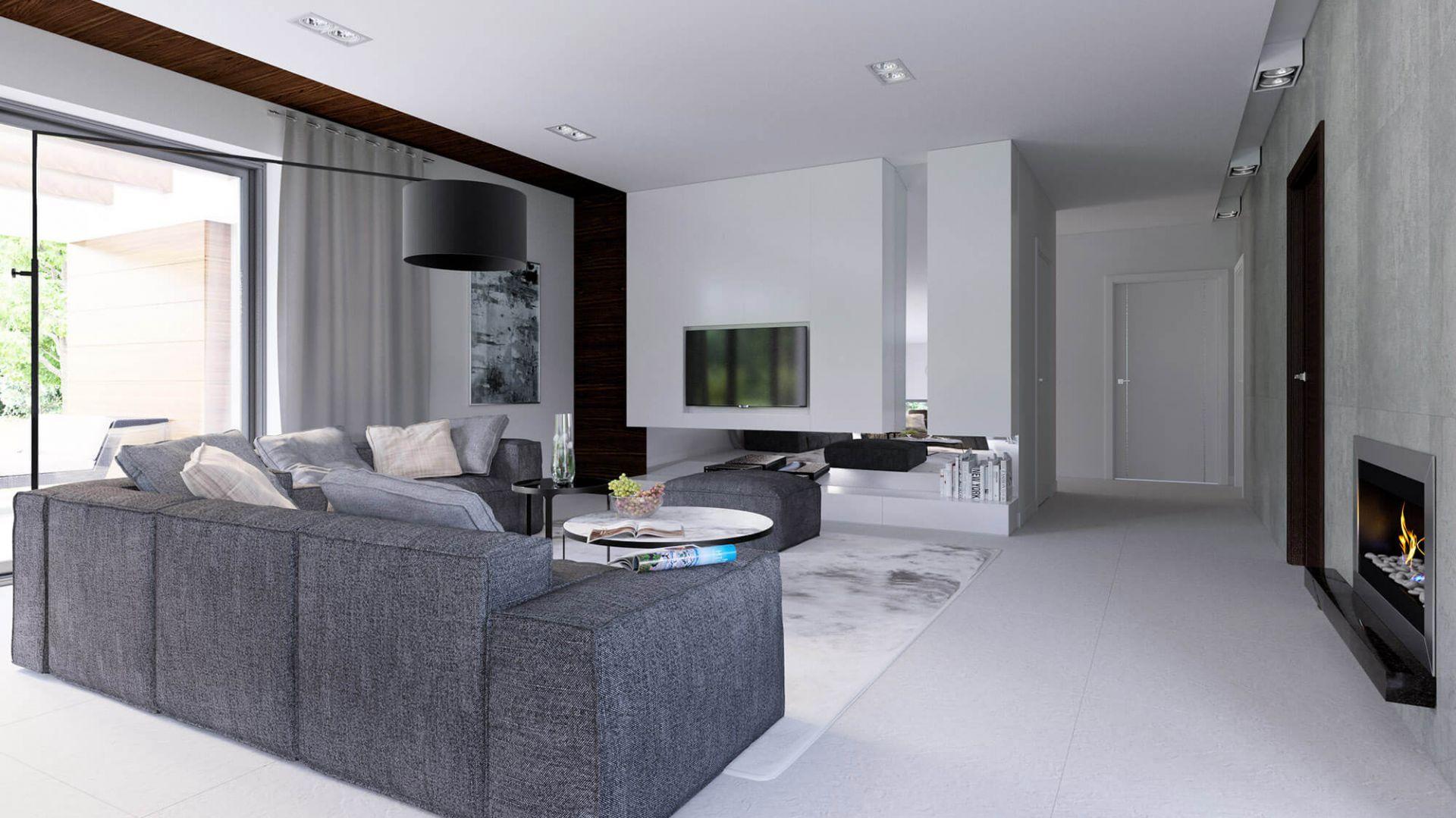 Telewizor, kominek i wygodne sofy tworzą doskonałe miejsce na wieczorny relaks. Fot. HomeKONCEPT