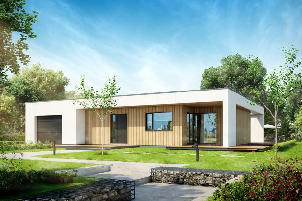 """Projekt """"PŁASKI D11"""" to wzór optymalnej funkcjonalności dla 4 osobowej rodziny przy zachowaniu niewielkich gabarytów budynku. W wiatrołapie znajduje się wejście do garderoby, a następnie do 1 stanowiskowego garażu oraz pomieszczenia techniczn"""