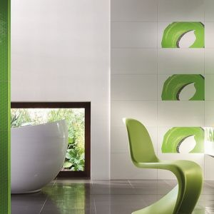 A jeśli chcemy, aby w naszym domu zrobiło się zbyt zielono, wystarczy zainwestować w wyraziste zielone akcesoria. Fot. Tubądzin