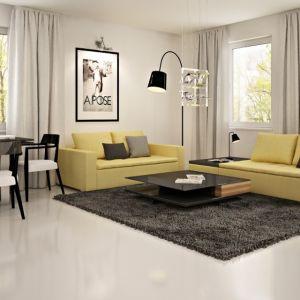 Salon z jadalnią utrzymany jest w czarno-białych kolorach. Elementami ożywiającymi wnętrze są jasne, zielone kanapy. Fot. Z500