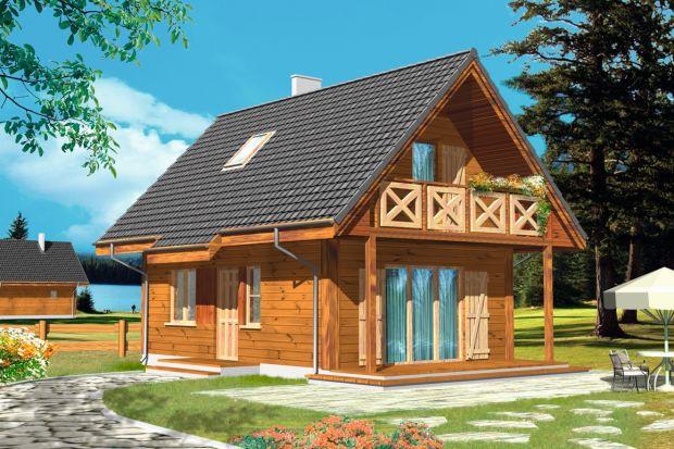 Projekt domu Sosenka Drewniana to mały zgrabny domek. Może pełnić funkcję letniskowego, ale również całorocznego domu.