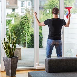 Nie można zapomnieć o starannym umyciu okien, które pozwolą nam podziwiać piękno roślin z wnętrza domu. Fot. Vileda