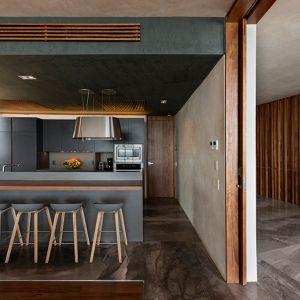 We wnętrzach ściany imitują kolor elewacji. Drewno ociepla wnętrza. Podłogi wykonano z kamienia. Fot. Pim Schalkwijk
