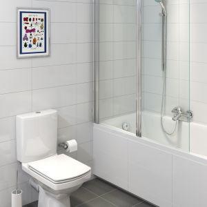 """Dobierając materiały wykończeniowe na ściany ipodłogi, również postawmy na jasne, chłodne barwy, które """"oddalają"""" ściany. Sprawdzą się takie kolory płytek, jak biel, szarość, beż czy błękit. Fot. Cersanit"""