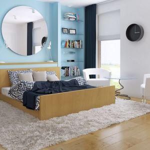 Jedną ze ścian w sypialni pomalowano na piękny, spokojny, błękitny kolor. Urozmaiceniem wnętrza jest duże lustro, które optycznie powiększa wnętrze. Fot. Z500