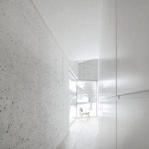 We wnętrzach dominiuje betonowa, surowa stylistyka w opozycji której stoi ciepłe drewniane meble. Fot. Brigida González