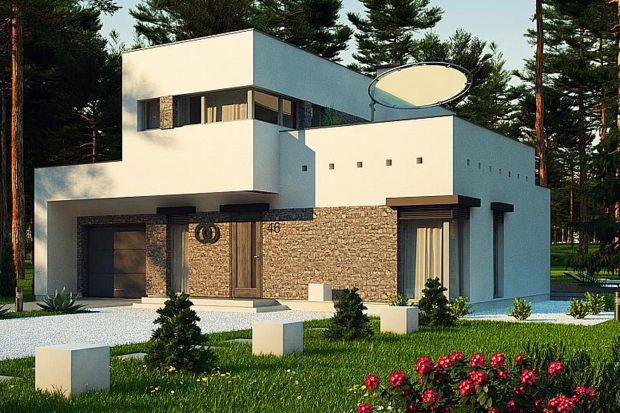 Projekt nowoczesnego domu Zx46 wyróżnia się ciekawą, kubiczną bryłą oraz detalami z jasnego kamienia.Pomimo ekstrawaganckiego i modernistycznego wyglądu projekt jest prosty w budowie. Doskonale trafi w gusta ludzi szukających oryginalnego i wyj