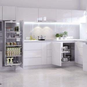 Z kolei Carga Maxi pozwalają na funkcjonalne zaplanowanie kuchennej strefy przechowywania. Wytrzymują duże obciążenie i zapewniają łatwy dostęp zarówno do półek umiejscowionych wysoko, jak i nisko. Fot. Rejs