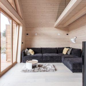 Zaaranżowane wnętrze wyróżnia się zatarciem granicy między przestrzenią mieszkalną, a otaczającym, zielonym krajobrazem. Fot. Miha Bratina