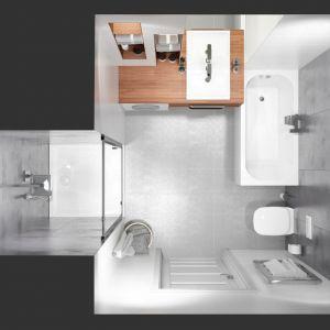 W przypadku małej łazienki podstawą jest wybór kabiny prysznicowej lub wanny oraz umywalki, które wpasują się w metraż i zapewnią użytkownikom maksimum wygody i funkcjonalności nie zagracając przy tym pomieszczenia. Fot. Sanplast