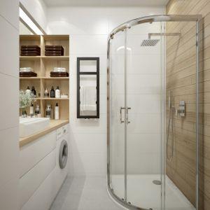 = ==W przypadku niewielkich powierzchni, prysznic jest zdecydowanie częstszym wyborem, ale zdarzają się możliwości aranżacji z wanną.Fot. Sanplast