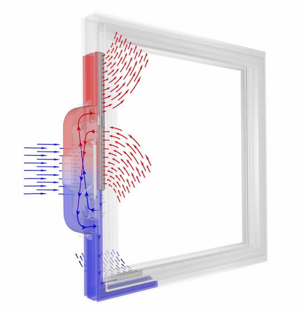 Wywietrznik w systemie I-tec Wentylacja wyposażono w wymiennik ciepła, który pozwala odzyskać nawet do 85% energii. To z kolei niemal do minimum zmniejsza opłaty z tym związane. System stwarza także możliwość zastosowania specjalnych filtrów, która zapewniają ochronę przed kurzem czy pyłkami roślin, co jest doskonałym rozwiązaniem dla alergików. Fot. Internorm