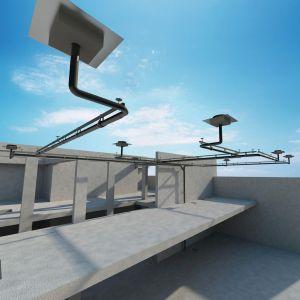 Wprowadzając system deszczowej kanalizacji Pluvia, Geberit zrewolucjonizował technologię odprowadzania wody z dużych, płaskich połaci dachowych. Fot. Geberit