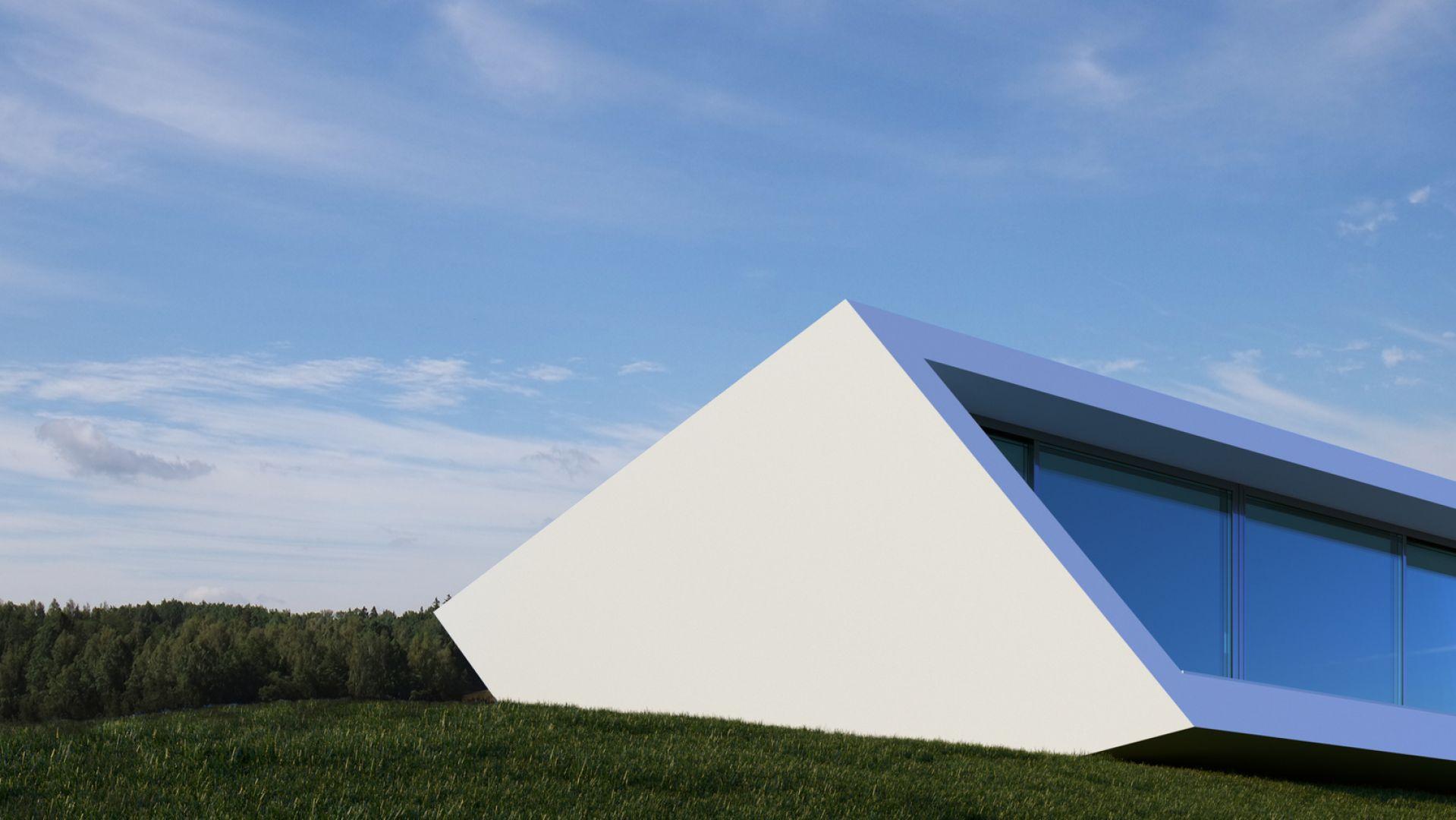 Dom został położony na specjalnych wspornikach, tak, że nie było potrzeby wykonania wykopu pod fundamenty. Konstrukcję domu stanowi betonowa struktura, która jest izolowana od zewnątrz, a następnie pokryta elastycznym, gładkim, jasno białym tynkiem wapiennym.  Fot. Mussabekova Ulbossyn