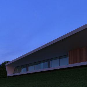 Z zewnątrz, dom został tak zaprojektowany, aby z każdej perspektywy jego bryła wyglądała zupełnie inaczej. Każdemu przechodzącemu obok towarzyszy złudne wrażenie, że kształt fasady domu zaczyna się dynamicznie zmieniać. Fot. Mussabekova Ulbossyn