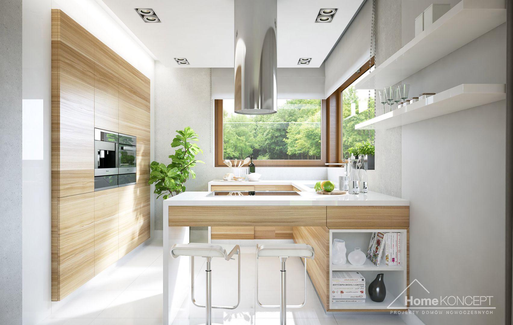 W nowocześnie urządzonej kuchni nie brakuje miejsca do przygotowywania codziennych posiłków. Fot. HomeKONCEPT