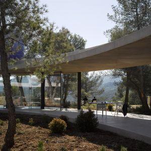 Okrągła bryła domu współtworzy nowoczesny dziedziniec, gdzie rosną dzikie drzewa i krzaki. Fot. Bas Princen