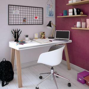 Jeżeli nie mamy wystarczającej przestrzeni na przeznaczenie osobnego pomieszczenia na biuro, możemy wygospodarować w tym celu na przykład część salonu i wyróżnić tę przestrzeń za pomocą kolorów. Fot. Beckers