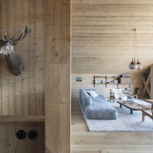 Wnętrza są przestronne i wypełnia ciepłe, naturalne drewno. Fot. Fot. Simone Bossi