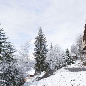Wszystko, od wysokości budynku po szerokość dachu, przez dobór materiałów, a nawet rozmiar stolarki okiennej i drzwiowej, było odgórnie narzucone architektom od samego rozpoczęcia prac nad projektem tej rezydencji górskiej, tak aby była ona zbliżona do tradycyjnej lokalnej zabudowy. Fot. Fot. Simone Bossi
