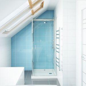 Łazienka nie jest zbyt duża jednak znalazło się w niej miejsce na wannę i kabinę prysznicową. Dodatkowym atutem są okna dachowe, które doświetlają wnętrze światłem naturalnym. Fot. Z500