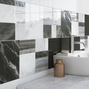 Kolekcja idealna do łazienek w stylu modern. Tonacja barwna ograniczona do bieli i czerni idealnie sprawdzi się w minimalistycznym wnętrzu. Charakter łazienki podkreślony został przez geometryczne, proste formy, budujące przestrzeń światło oraz nowoczesne inserto, które nadaje indywidualnego wyrazu tej eleganckiej łazience. Fot. Opoczno