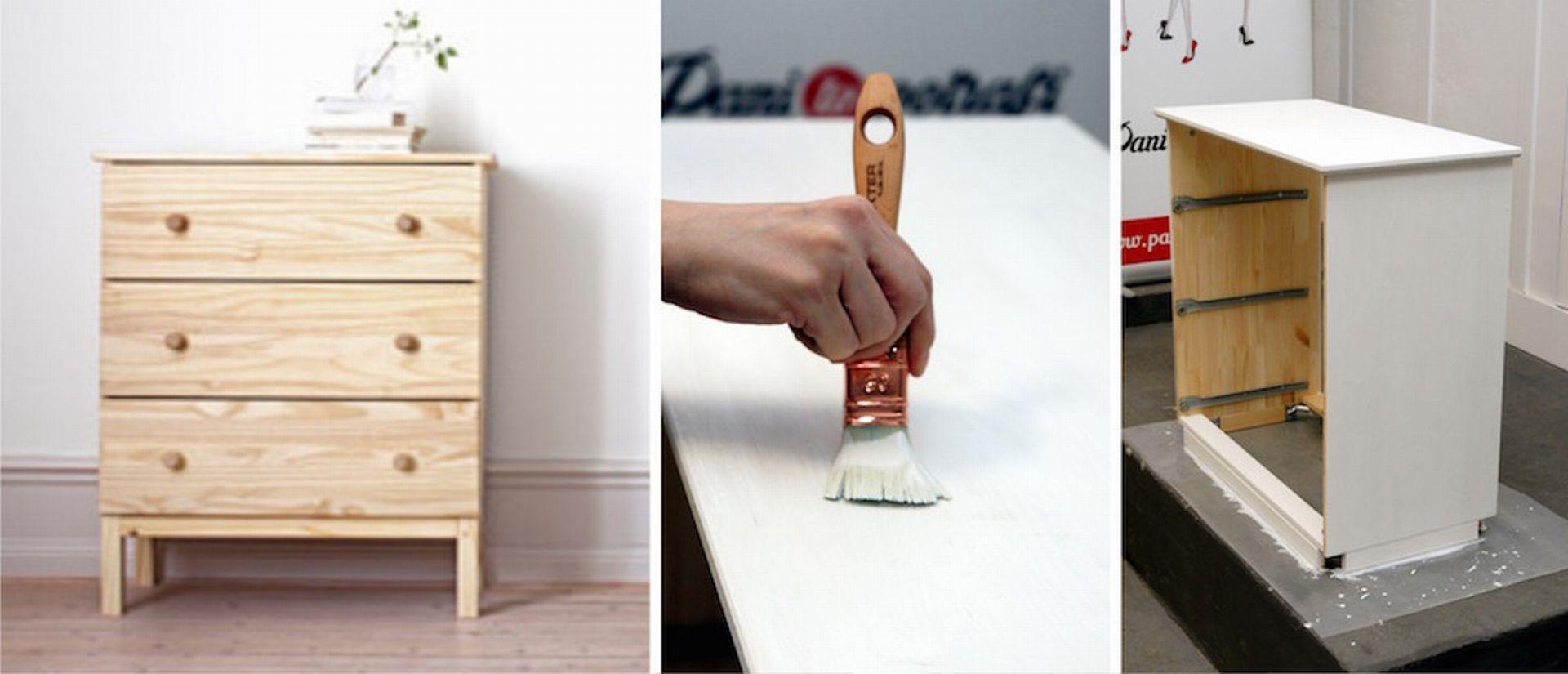 Pierwszym krokiem jest pokrycie drewna farbą w wybranym kolorze, np. szybkoschnącą emalią akrylową do drewna i metalu marki Dekoral. Fot. Dekoral,