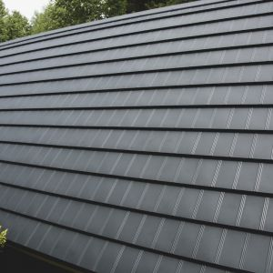 Prostolinijną formę Tysenii zdobi finezyjne, potrójne przetłoczenie dodające elegancji całej połaci dachu. Fot. Blachotrapez