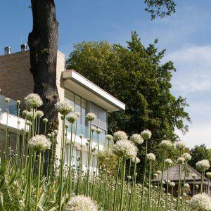 """Rezydencja """"S"""" jest umiejscowiona na wzniesieniu ze wspaniałym widokiem na jezioro Stanberg w Niemczech. Dach domu podpierają 3 kamienne kolumny. Fot. Hans Kreye"""