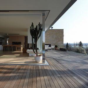 """Zastosowano ogromne przesuwne, szklane drzwi z wejściem na rozłożysty taras. Duży komin jest sercem tarasu """"Mountain View"""", który łączy się z basenem, zachodzącym na domowy ogród. Fot. Marc Winkel"""