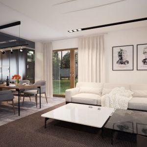 Biała kanapa oraz czarno-biały stolik oraz nowoczesne elementy oświetlenia nadają wnętrzu nuty elegancji. Fot. Archetyp