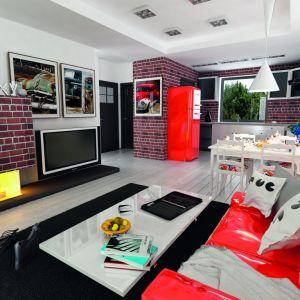 Wyjątkową ozdoba salonu są grafiki w stylów lat pięćdziesiątych. Fot. Archeco