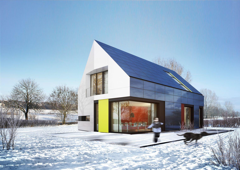 Przykładowa wizualizacja plus energetycznego budynku, którego fasada oraz dach zintegrowane zostały z panelami fotowoltaicznymi. Dzięki temu obiekt produkuje energię elektryczną, a wszelkie nadwyżki są przesyłane siecią e energetyczną i dystrybuowane przez elektrownie. Fot. proj. arch. Piotr Kuczia; wiz. A. Pluta