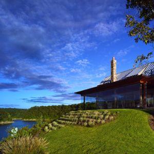 Dom jest usytuowany na skraju wysokiego klifu, otaczająca przyroda i teren zostały włączone w aranżacji przestrzeni wokół domu. Fot. Luker Photography