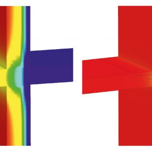 Wizualizacja prezentuje termiczny rozkład temperatury na połączeniu płyty balkonowej ze ścianą. Po lewej stronie widoczne jest rozwiązanie bez zastosowania łączników Isokorb, w którym efekt przenikania zimna i przesunięcie punku rosy w kierunku wnętrza obiektu, co powoduje powstanie mostka termicznego. Fot. Schöck