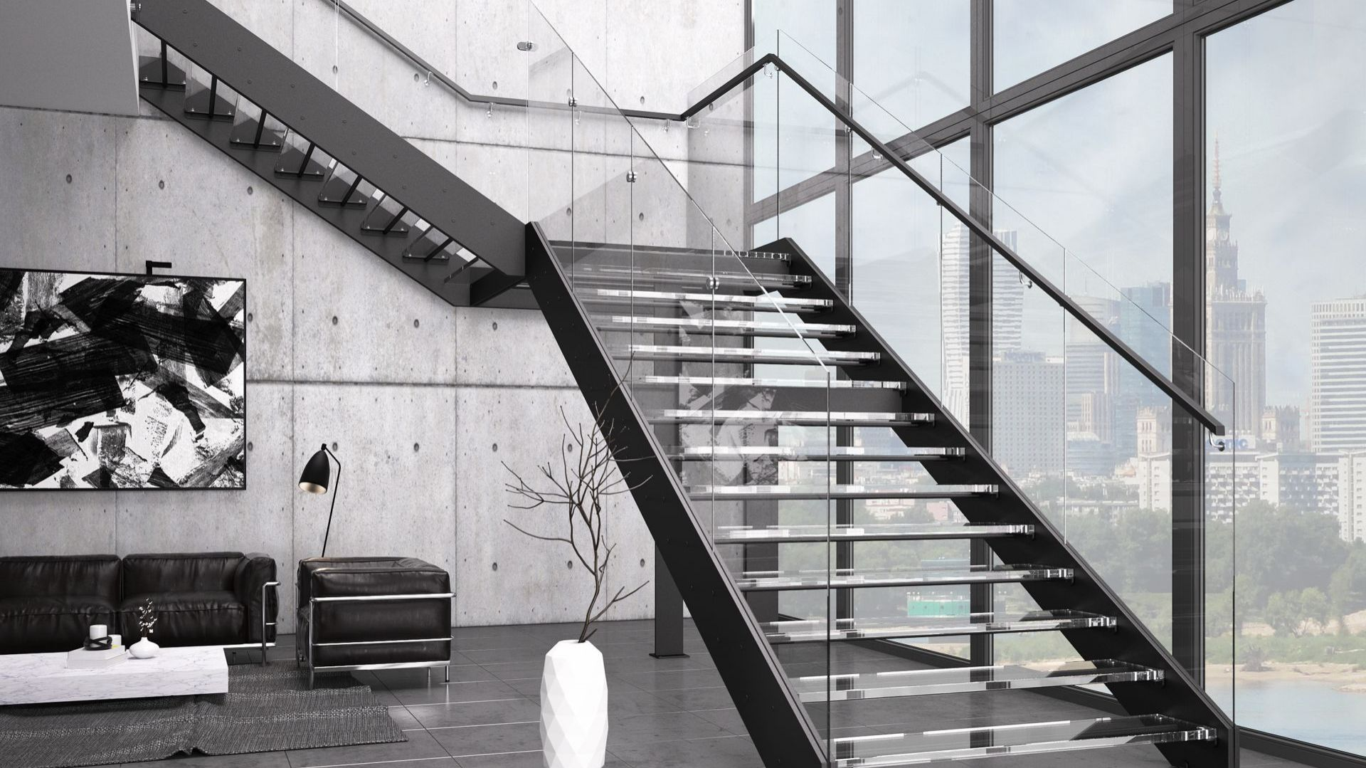Model Futura Duo ze szklanymi: balustradą i stopniami. Fot. Rintal Polska