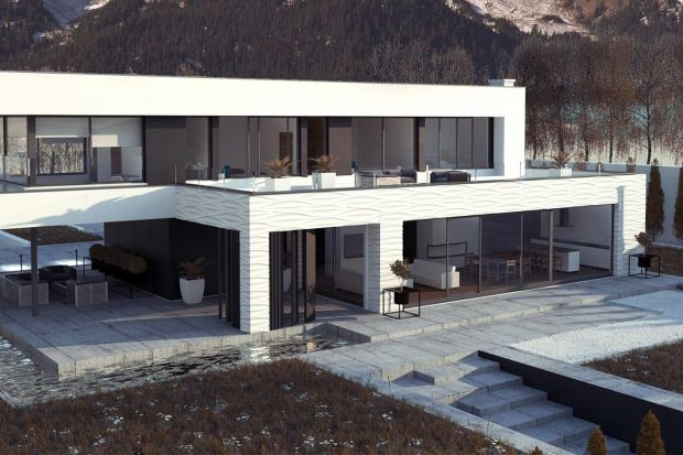 Projekt Zx154 prezentuje przestronny nowoczesny dom dla wymagających. Elewacja budynku została zaprojektowana w chłodnej bieli oraz ciemnym, grafitowym tynkiem umieszczonym we wnękach.