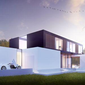 Szkliste panele elewacyjne odbijają światło i definiują transparentny charakter domu w odmienny sposób. Wizualizacje & Grafika: BXBstudio Bogusław Barnaś & Looma