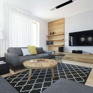 W salonie dominują jasne barwy i naturalne drewno. Fot. Domy w Stylu