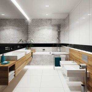Łazienkę zaprojektowano w ponadczasowym zestawieniu bieli i czerni z dodatkiem drewna. Fot. Domy w Stylu