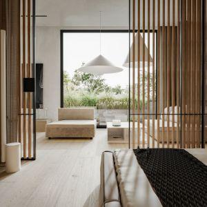 Wnętrza w stylu japońskim charakteryzują się wykorzystaniem prostych, minimalistycznych mebli z architektonicznym sznytem. Fot. Studio.O.