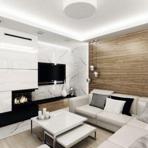 Na uwagę zasługuję ściana telewizyjna wykończona białym marmurem z delikatnymi ciemnymi żyłkami. Ta sama okładzina pojawiła się również na podłodze wzdłuż kominka i w holu. Fot. Domy w Stylu