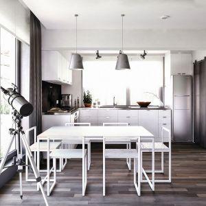 Wnętrze, pomimo niewielu dodatków i dekoracji jest dynamiczne. Dodatkowym atutem są dobrze dobrane elementy oświetlenia. Fot. Domy w Stylu