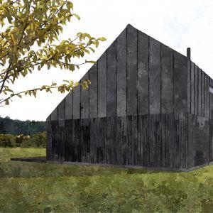 Dla zapewnienia komfortu i intymności mieszkańcom od strony drogi zaprojektowano małą liczbę przeszkleń. Fot. Malinowski Studio