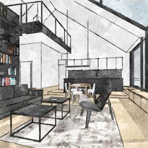 Przeszklenie w salonie sięga poziomu gruntu, natomiast wewnątrz budynku obniżono nieco posadzkę, dzięki czemu powstanie siedzisko z szufladami wzdłuż szklenia. Fot. Malinowski Studio